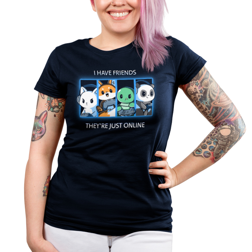 Online Friends Junior's t-shirt model TeeTurtle navy t-shirt featuring a cat, fox, turtle, and panda all with their gaming controllers in a grid next to each other