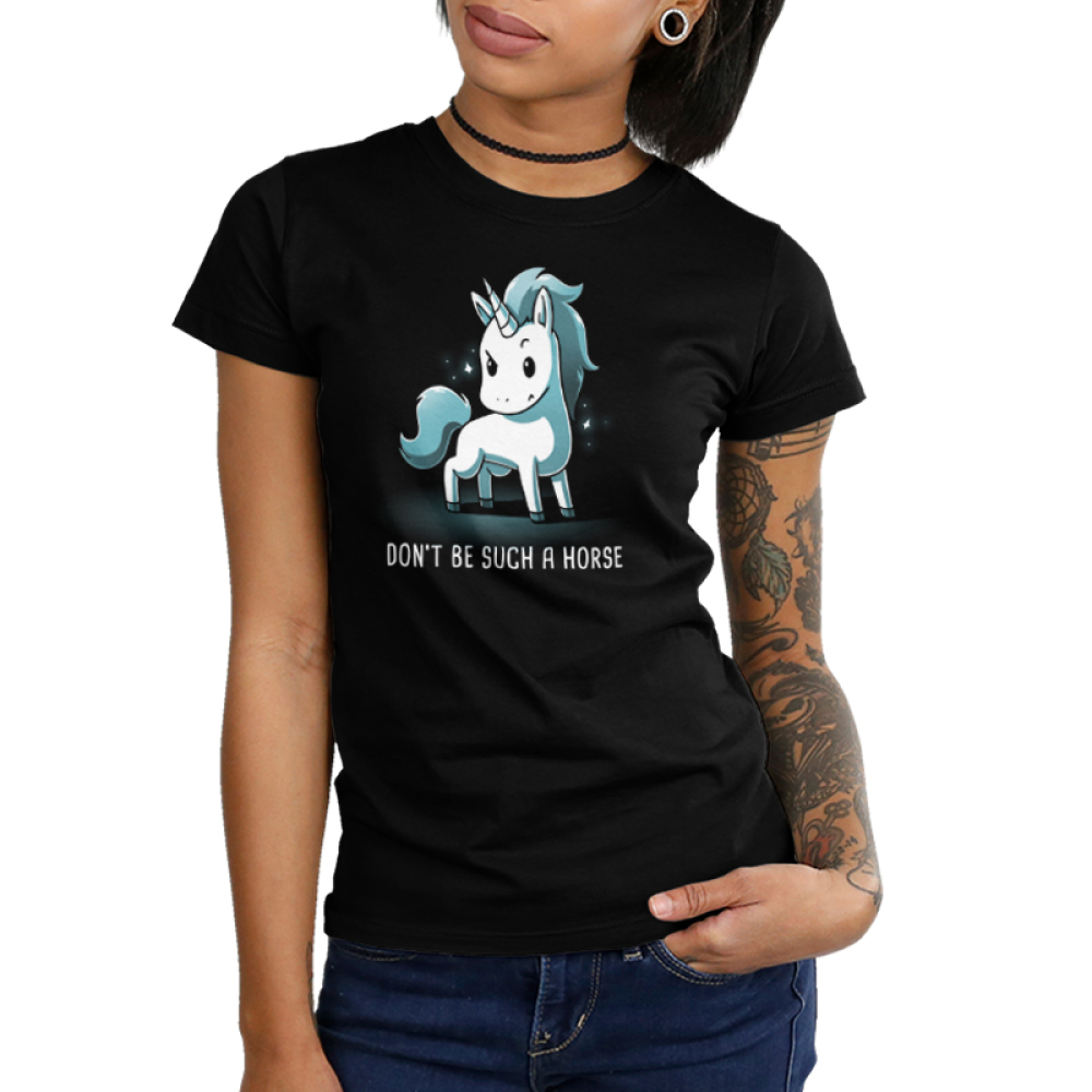 Don't Be Such a Horse Junior's t-shirt model TeeTurtle black t-shirt featuring a sassy looking white and blue unicorn