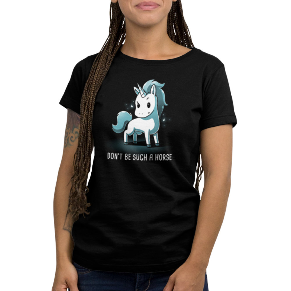 Don't Be Such a Horse Women's t-shirt model TeeTurtle black t-shirt featuring a sassy looking white and blue unicorn