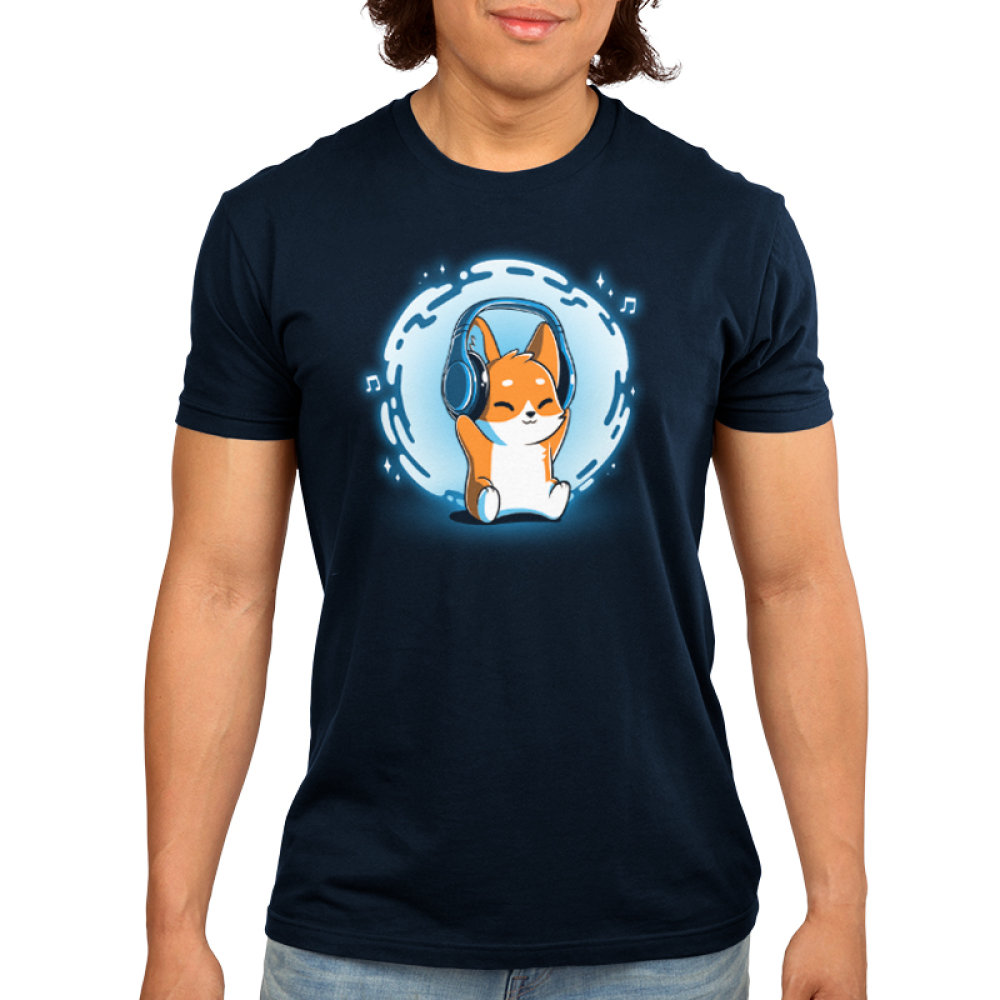 Surrounded by Music Men's t-shirt model TeeTurtle navy t-shirt featuring a corgi with headphones on and a swirl of blue and music notes behind him