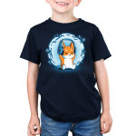 Surrounded by Music Kid's t-shirt model TeeTurtle navy t-shirt featuring a corgi with headphones on and a swirl of blue and music notes behind him
