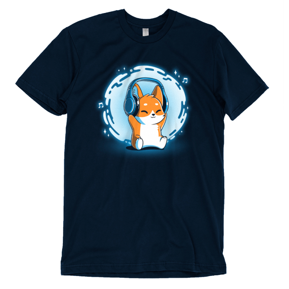 Surrounded by Music t-shirt TeeTurtle navy t-shirt featuring a corgi with headphones on and a swirl of blue and music notes behind him