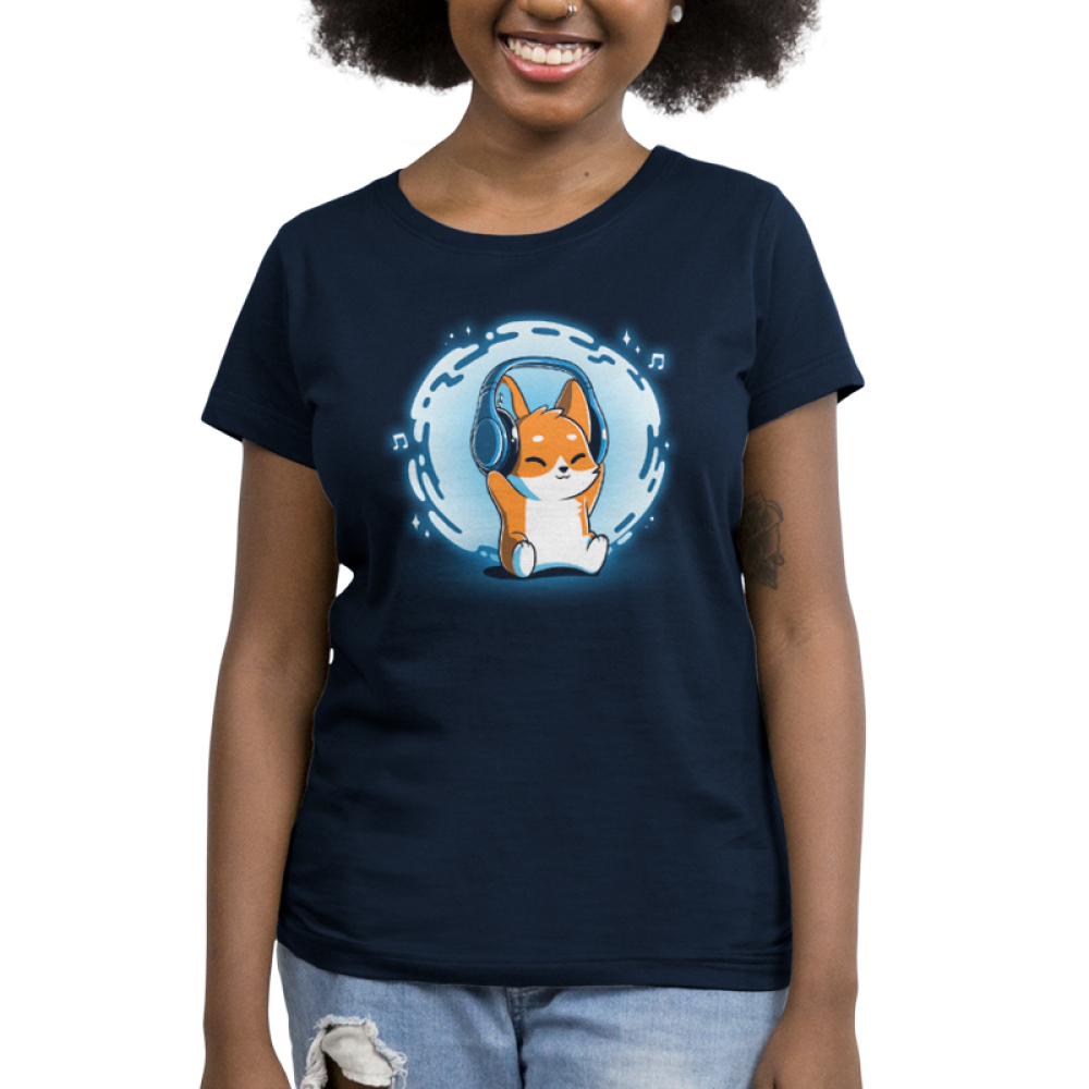 Surrounded by Music Women's t-shirt model TeeTurtle navy t-shirt featuring a corgi with headphones on and a swirl of blue and music notes behind him