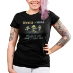 Zombies > People Junior's t-shirt model TeeTurtle black t-shirt featuring three green zombies walking with their arms out
