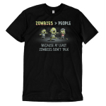Zombies > People t-shirt TeeTurtle black t-shirt featuring three green zombies walking with their arms out