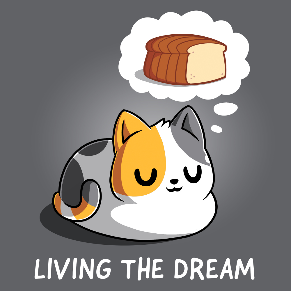 Living the Dream t-shirt TeeTurtle charcoal t-shirt featuring a calico cat with his eyes closed dreaming about a loaf of bread