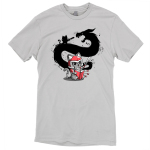 Adventure Awaits t-shirt TeeTurtle light gray t-shirt featuring a cat in a red armored suit reading a book with a sword in his hand with the shadow of himself and a dragon behind him