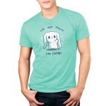 I'm Not Short, I'm Chibi! Men's t-shirt model TeeTurtle chill blue t-shirt featuring a white bunny waving with its ears flopped over