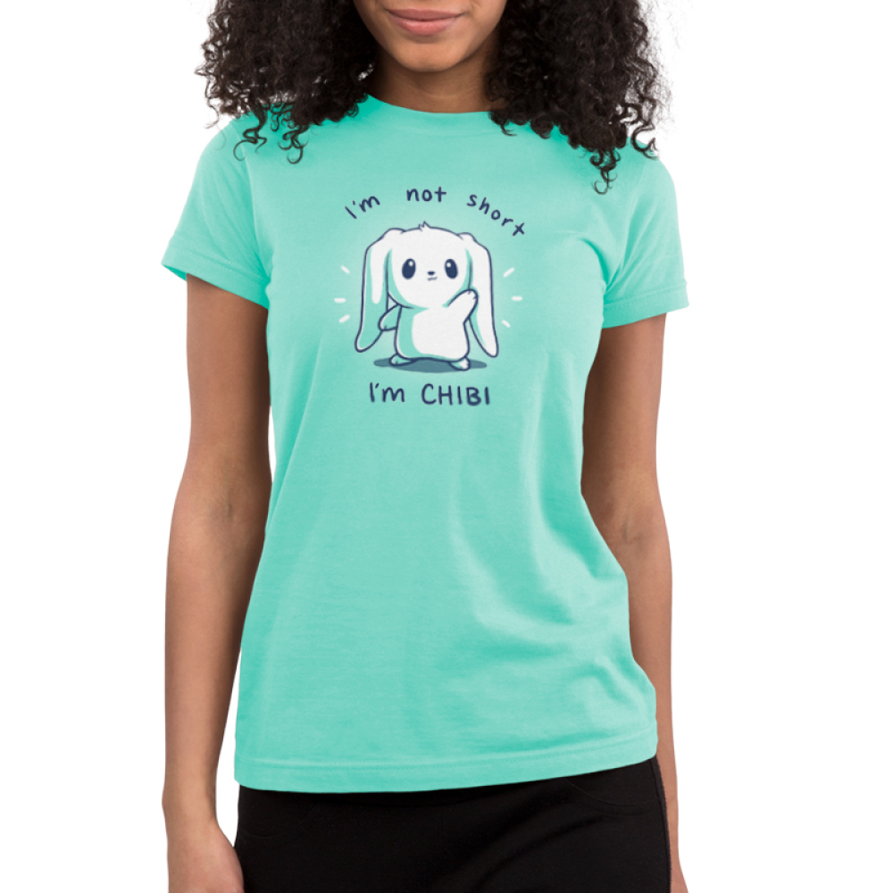 I'm Not Short, I'm Chibi! Junior's t-shirt model TeeTurtle chill blue t-shirt featuring a white bunny waving with its ears flopped over