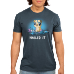 Nailed It Men's t-shirt model TeeTurtle denim blue t-shirt featuring a pug with big eyes covered in purple paint with a mess of crafts around him