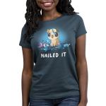 Nailed It Women's t-shirt model TeeTurtle denim blue t-shirt featuring a pug with big eyes covered in purple paint with a mess of crafts around him