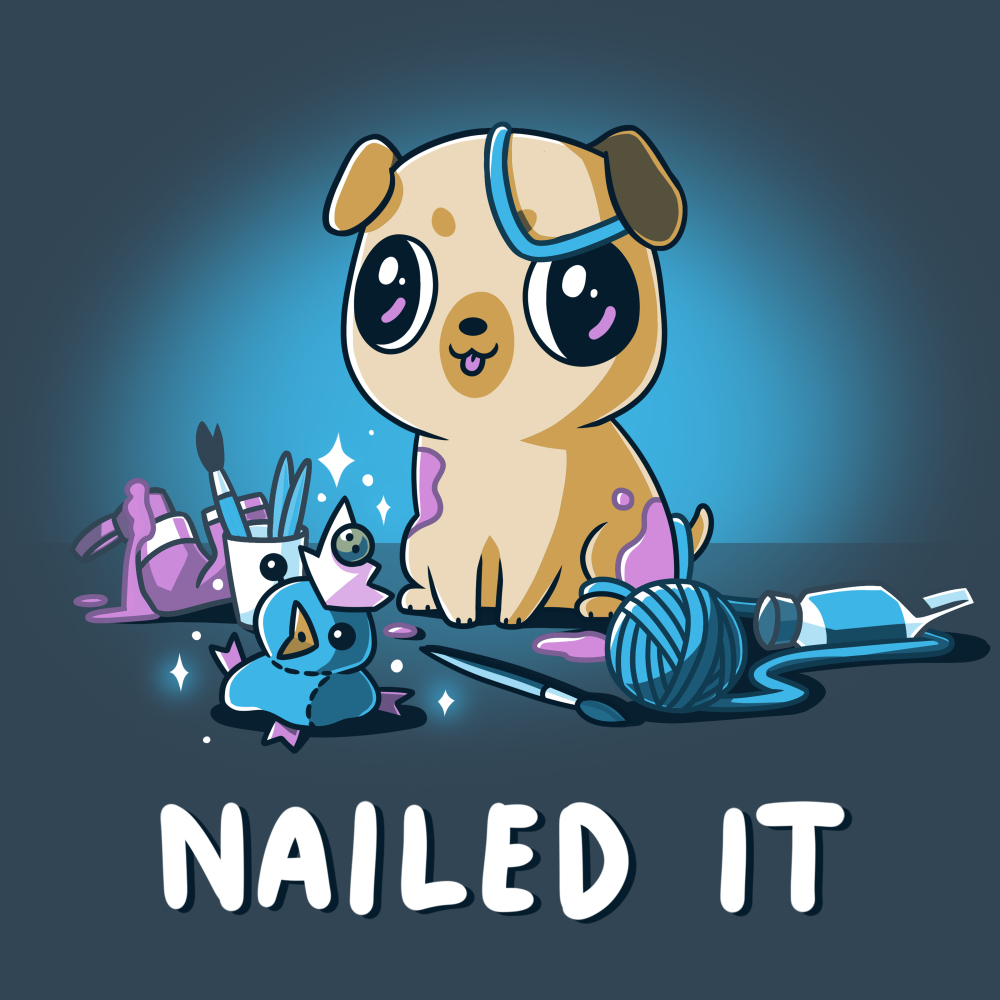 Nailed It t-shirt TeeTurtle denim blue t-shirt featuring a pug with big eyes covered in purple paint with a mess of crafts around him