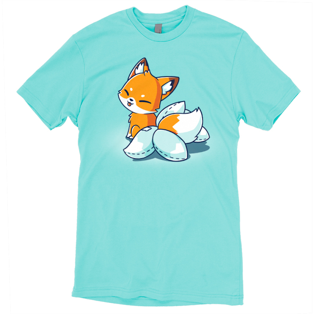 Kitsune Cosplay t-shirt TeeTurtle Caribbean blue t-shirt featuring an orange fox with white on its moth and the tip of its tail, seated, facing away and looking back at you with its tongue poking out in a playful manner. It has 4 white fake tails attached to the real tail that have dashed lines along the edges to show that they were stitched together.