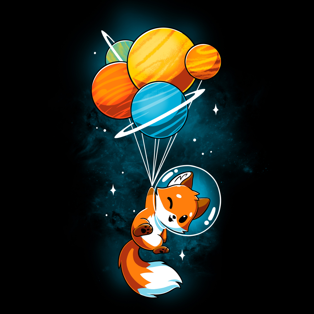 Foxy Astronaut t-shirt TeeTurtle black t-shirt featuring a fox in space with an astronaut helmet holding onto a bunch of planets tied together like balloons