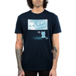 Stay Pawsitive Men's t-shirt model TeeTurtle navy t-shirt featuring a cat in a TV screen waving saying