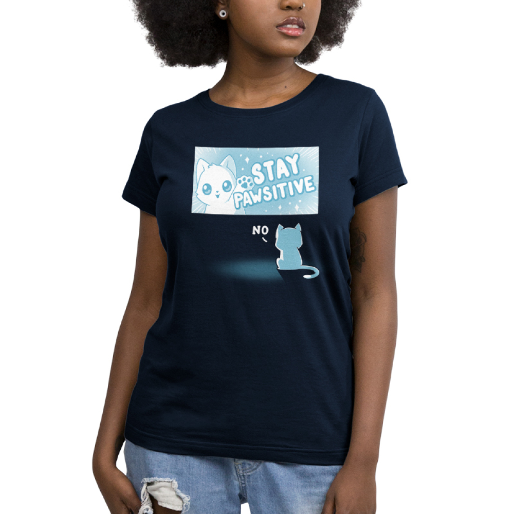 Stay Pawsitive Women's t-shirt model TeeTurtle navy t-shirt featuring a cat in a TV screen waving saying