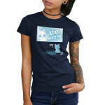 Stay Pawsitive Junior's t-shirt model TeeTurtle navy t-shirt featuring a cat in a TV screen waving saying