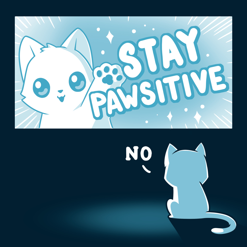 Stay Pawsitive t-shirt TeeTurtle navy t-shirt featuring a cat in a TV screen waving saying