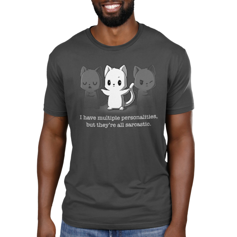 Multiple Personalities Men's t-shirt model TeeTurtle charcoal t-shirt featuring one white cat with two faded gray cats next to him all looking sassy
