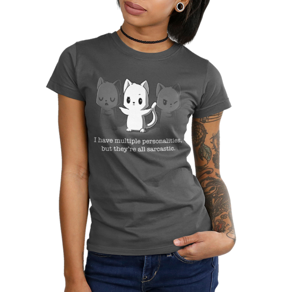 Multiple Personalities Junior's t-shirt model TeeTurtle charcoal t-shirt featuring one white cat with two faded gray cats next to him all looking sassy