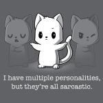 Multiple Personalities t-shirt TeeTurtle charcoal t-shirt featuring one white cat with two faded gray cats next to him all looking sassy