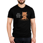 This is Otter Nonsense Men's t-shirt model TeeTurtle black t-shirt featuring an otter sitting down with its arms crossed looking angry