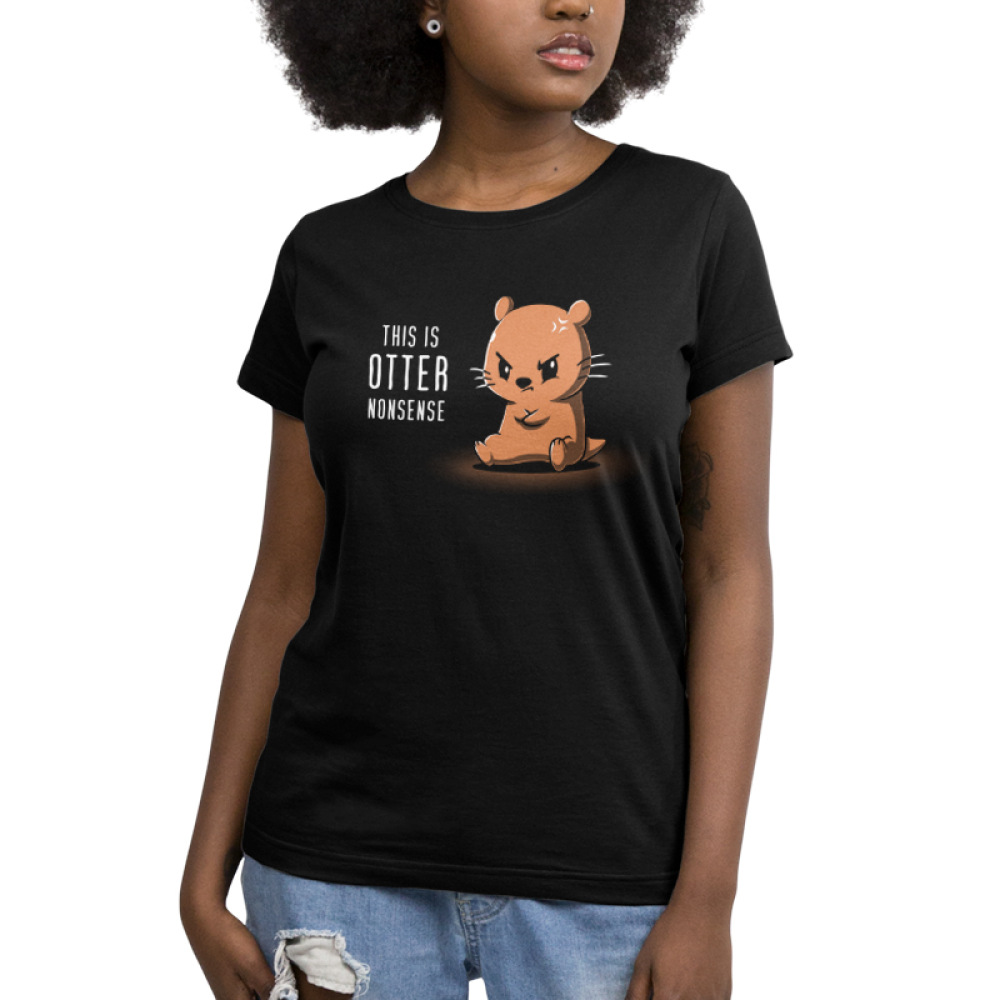 This is Otter Nonsense Women's t-shirt model TeeTurtle black t-shirt featuring an otter sitting down with its arms crossed looking angry