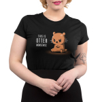 This is Otter Nonsense Junior's t-shirt model TeeTurtle black t-shirt featuring an otter sitting down with its arms crossed looking angry