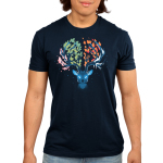 Seasonal Stag Men's t-shirt model TeeTurtle navy t-shirt featuring a stag with pink leaves on the left of its antlers, green leaves in the middle, orange leaves in the middle, and ice on the right of its antlers