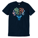 Seasonal Stag t-shirt TeeTurtle navy t-shirt featuring a stag with pink leaves on the left of its antlers, green leaves in the middle, orange leaves in the middle, and ice on the right of its antlers