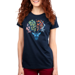 Seasonal Stag Women's t-shirt model TeeTurtle navy t-shirt featuring a stag with pink leaves on the left of its antlers, green leaves in the middle, orange leaves in the middle, and ice on the right of its antlers