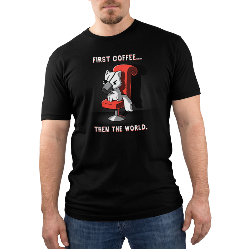 First Coffee... Then The World Men's t-shirt model TeeTurtle black t-shirt featuring a cat sitting in a red chair with an eye patch on drinking a cup of coffee