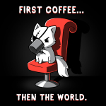 First Coffee... Then The World t-shirt TeeTurtle black t-shirt featuring a cat sitting in a red chair with an eye patch on drinking a cup of coffee