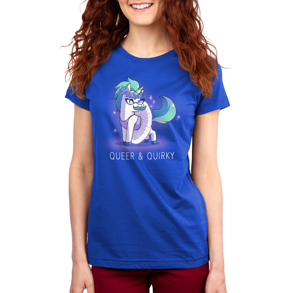 Queer & Quirky Women's t-shirt model TeeTurtle royal blue t-shirt featuring a unicorn with a flower crown, glasses, a mustache, and a tutu