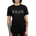 Evil Kitty Men's t-shirt model TeeTurtle black t-shirt featuring four gray cats in a row, the first one with a slight smile, the second one beginning the yawn, the third one yawning super big with its mouth open as big as its face, and the fourth one slightly smiling
