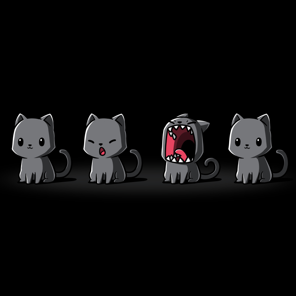 Evil Kitty t-shirt TeeTurtle black t-shirt featuring four gray cats in a row, the first one with a slight smile, the second one beginning the yawn, the third one yawning super big with its mouth open as big as its face, and the fourth one slightly smiling