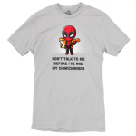 Deadpool Loves Chimichangas t-shirt officially licensed silver Marvel t-shirt featuring Deadpool holding a bad of groceries in one arm and a chimichanga in the other hand