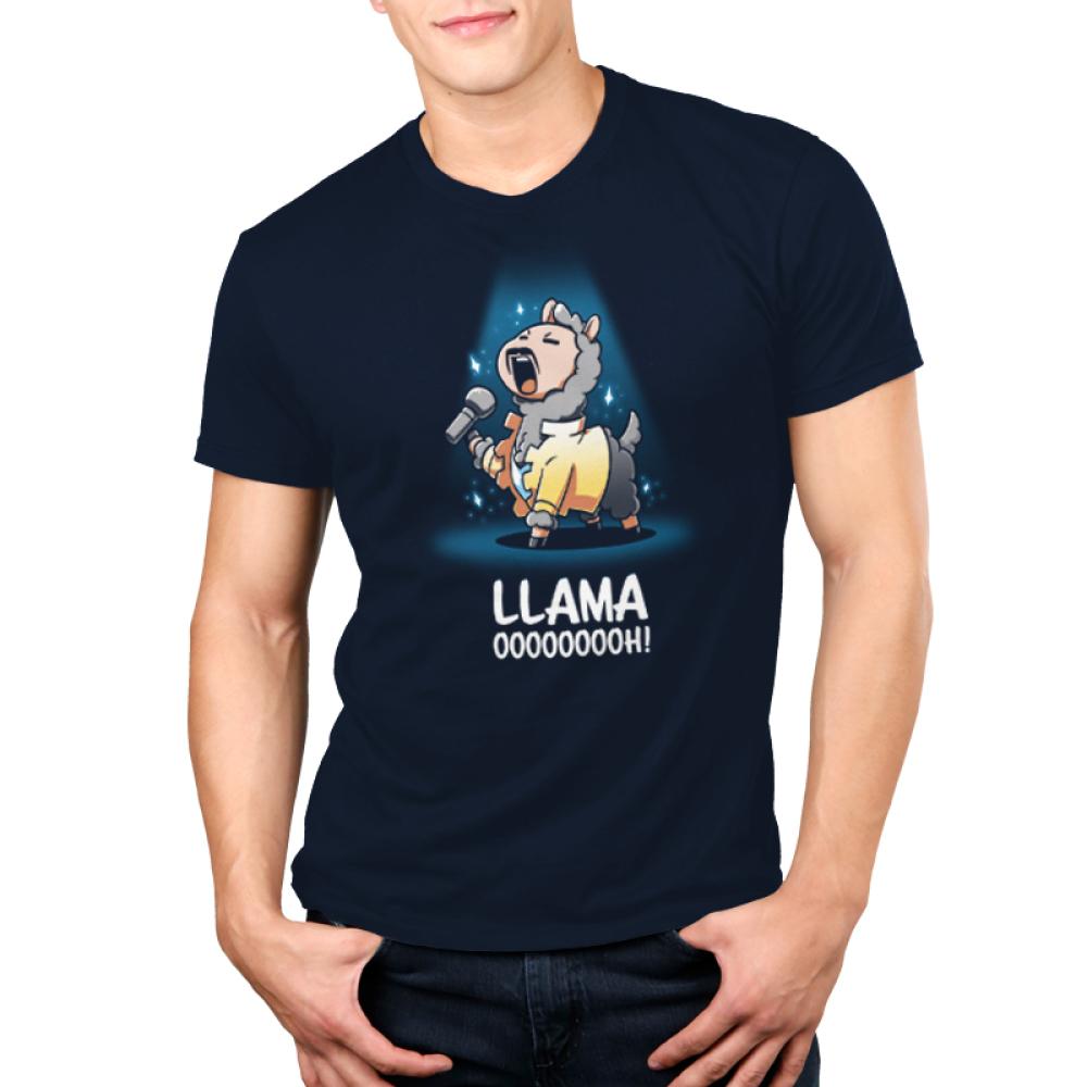 Llama OOOOOOOOH! Men's t-shirt model teeTurtle navy t-shirt featuring a llama with a mustache and a yellow jacket belting on stage with a microphone in his hand