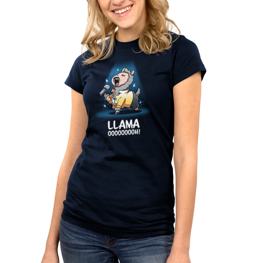 Llama OOOOOOOOH! Junior's t-shirt model teeTurtle navy t-shirt featuring a llama with a mustache and a yellow jacket belting on stage with a microphone in his hand