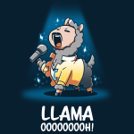 Llama OOOOOOOOH! t-shirt teeTurtle navy t-shirt featuring a llama with a mustache and a yellow jacket belting on stage with a microphone in his hand