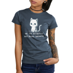 No, I'm Definitely Not Being Sarcastic Junior's t-shirt model TeeTurtle denim blue t-shirt featuring a white sassy looking cat