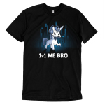 1v1 Me Bro t-shirt TeeTurtle black t-shirt featuring a while unicorn  with grey hooves, mane, and tail  holding a video game controller in it's mouth while wearing a headset with microphone for online gaming. There is a knife duct taped to the unicorns horn. There are some blue gradient colored digital line graphics behind the unicorn.