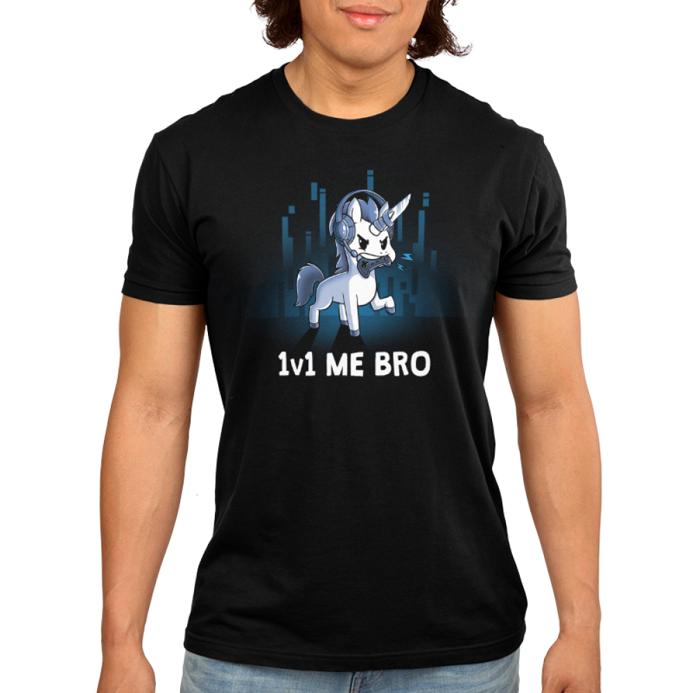 1v1 Me Bro t-shirt Men's TeeTurtle black t-shirt featuring a while unicorn  with grey hooves, mane, and tail  holding a video game controller in it's mouth while wearing a headset with microphone for online gaming. There is a knife duct taped to the unicorns horn. There are some blue gradient colored digital line graphics behind the unicorn.