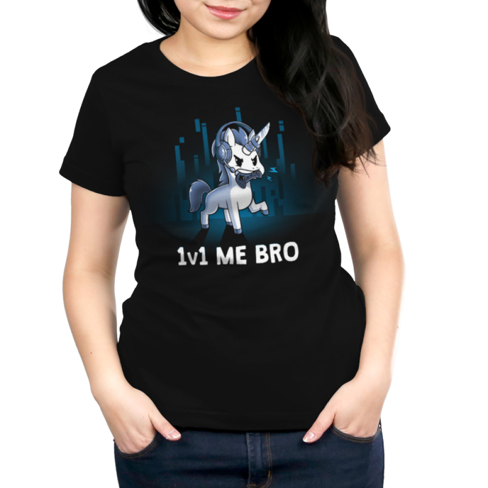 1v1 Me Bro t-shirt Women's TeeTurtle black t-shirt featuring a while unicorn  with grey hooves, mane, and tail  holding a video game controller in it's mouth while wearing a headset with microphone for online gaming. There is a knife duct taped to the unicorns horn. There are some blue gradient colored digital line graphics behind the unicorn.