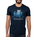 I Need Some Alone Time Men's t-shirt model TeeTurtle navy t-shirt featuring a gray cat in a bean bag chair with a lava lamp next to him reading a book