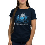 I Need Some Alone Time Women's t-shirt model TeeTurtle navy t-shirt featuring a gray cat in a bean bag chair with a lava lamp next to him reading a book