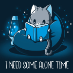 I Need Some Alone Time t-shirt TeeTurtle navy t-shirt featuring a gray cat in a bean bag chair with a lava lamp next to him reading a book