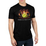 Tomorrow Will Probably Be Better Men's t-shirt model TeeTurtle black t-shirt featuring a green dinosaur smiling with dinosaurs running behind him with trees on fire