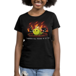 Tomorrow Will Probably Be Better Women's t-shirt model TeeTurtle black t-shirt featuring a green dinosaur smiling with dinosaurs running behind him with trees on fire