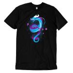 Galactic Dragon t-shirt TeeTurtle black t-shirt featuring a curly blue and purple dragon with constellations on its body with purple planets surround him